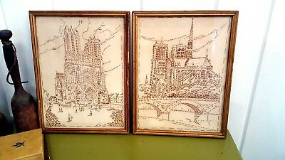 Notre Dame Paris Cathedral Hand Stitched Vtg Framed Art Wall Decor France