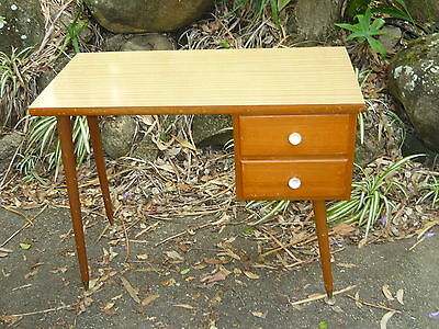 Retro 60s 70s Formica Kids Study Computer Desk ~ Vintage Timber Tapered Legs