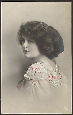 Pretty Young Lady Takes Sideways Glance For the Camera. 2 x Tinted Postcards