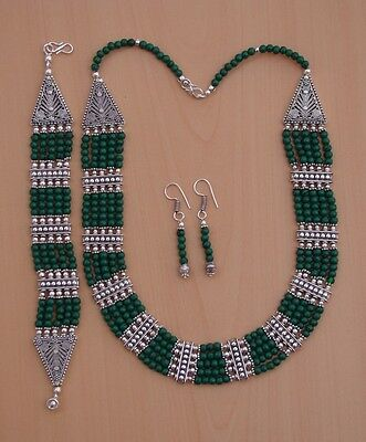 Wholesale 3Pc 925 Silver Plated Green Turquoise Earring-Necklace-Bracelet Lot