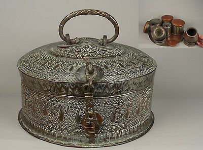 A Fine 19th c. Indian Copper & Brass (Betel) Paan-Daan - Large Complete Set.