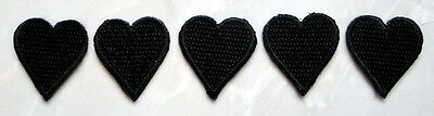 Lot of 5 Pretty Cute Black Heart Small Embroidered Iron on Patches Free Shipping