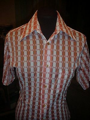 Men's VINTAGE 70's Ugly Orange Polyester DISCO Sheer  RETRO Style SHIRT SM 36