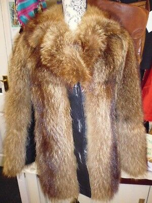 Vintage 70's Real Dark  Wolf Coyote Fur Coat Size Medium 8 To 10 Rare Find
