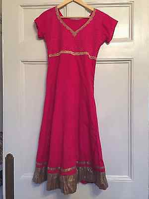 Anarkali Dress Pink with Gold Size Small Vintage Lined