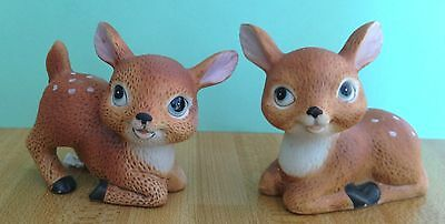 Pair Of Homco #1473 Fawn Figurines Porcelain Cute, Nice Condition