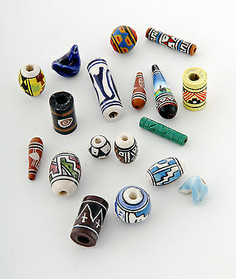 Wholesale beads bulk clay ceramic  beads hand painted mix x 500 fair trade Peru
