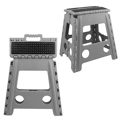 39cm high PLASTIC FOLDING HEAVY DUTY STEP STOOL with HANDLE kitchen caravan diy