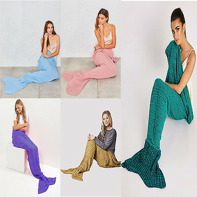 New Adult Knitted Lapghan SOFA Quilt Blanket RUG Mermaid TAIL Crochet FREE P&P