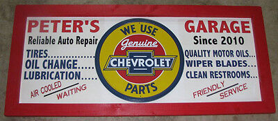 Personalized Vintage Style Filling Station Sign w/  Chevy Chevrolet round tin