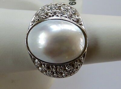 Sterling Silver Oval Mabe White Pearl & White Topaz size 9 Ring new with tags