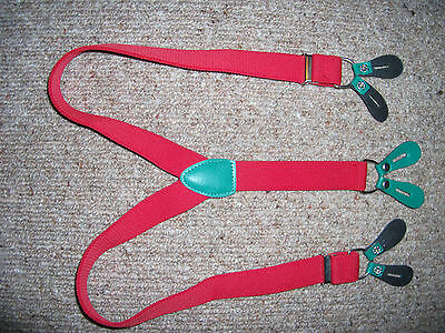 red unisex/kids/womens vintage Y-back short small braces suspenders leather ends