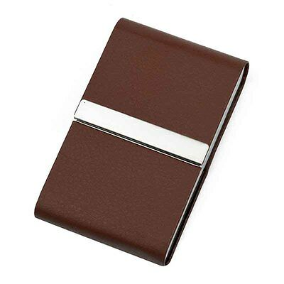 Brown PU Leather Tobacco Cigarette Holder Card Storage Case Box Container