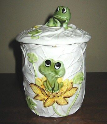 Vintage Neil the Frog CeramicLidded Small  Canister