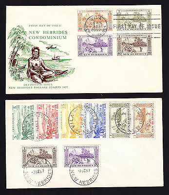 New Hebrides stamps on two 1957 First Day Covers FDCs