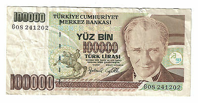Turkey Banknote - 100000 Turk Lirasi - Issued 1970  - Circulated Condition