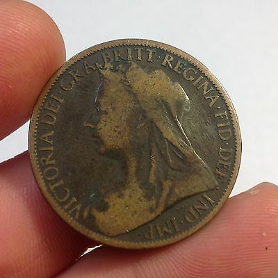 1900 Great Britain Penny Large Cent , Queen Victoria, England, English