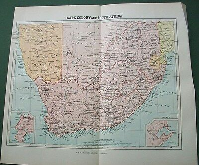 1901 Map Cape Colony And South Africa Antique Victorian Print Chambers