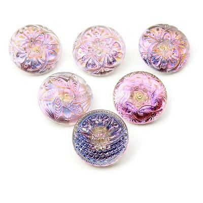 (6) 27mm Czech Vintage reverse iridescent painted lacy flower art glass buttons