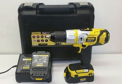 Stanley Fatmax 18V Hammer Drill With Two 1.5Ah Lithium-ion Batteries. Refurb.