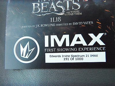 Regal Fantastic Beasts . . . . . collectible imax ticket 191of 1000