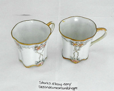 Japanese Demitasse Tea Cup Gold Trim Hot Cocoa Porcelain Hand Painted Nippon  C4