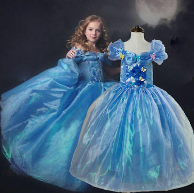 UK Stock Xmas Cinderella Cosplay Costume Kids Girls Party Fancy Dress 3-9 Years