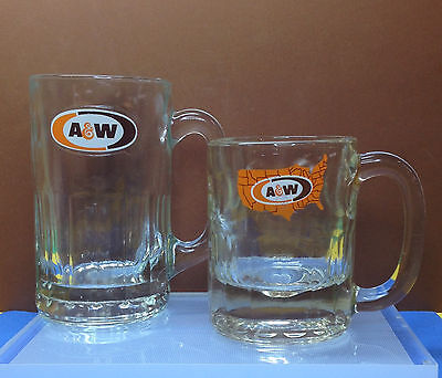 """A&W Root beer Mugs 1968  5 3/4"""" Tall & 4 1.2 """" tall 1972 A & W Logo BUY NOW!"""