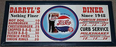 Personalized Vintage Diner Style Soda Menu Board w/ Pepsi Cola Glass Tin Sign