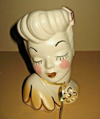 Vintage Antique  1940's Glamour Girl Lady Head Vase USA