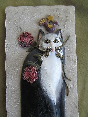 Cat Tails Rose Bud Signed By Eileen Smithson Stone Resin 3D Wall Plaque Decor