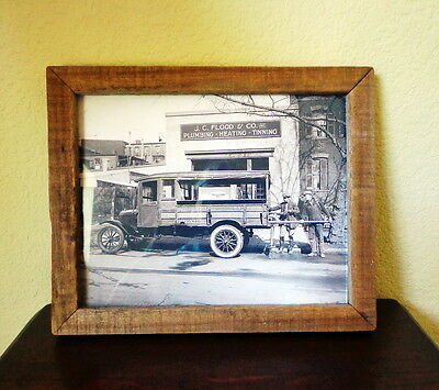 Framed 8 X 10 Photograph ca.1920 TWO PLUMBERS Loading Pipe into Plumbing Truck