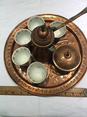 Copper Turkish Coffee Set Mamluke Tray With All Pieces