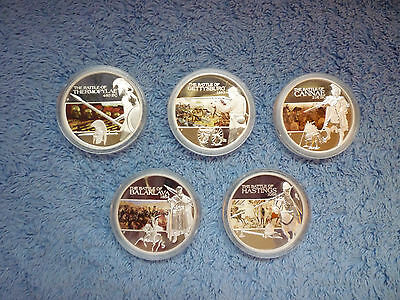 2009 Famous Battles Perth Mint 5 coin Set-Thermopylae,Gettysburg, Hastings,etc.