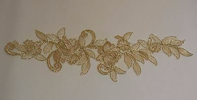 a large gold floral lace applique with gold cords / lace tulle motif By piece