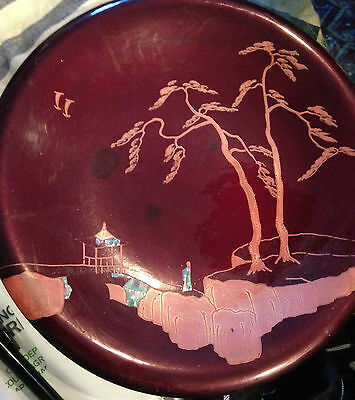 """Old Lacquerware Serving Set  -12"""" Tray 4 -  6"""" Plates - Mother Of Pearl Figures"""