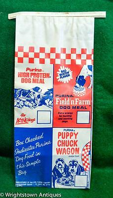 Vtg 1960s PURINA CHUCK WAGON Dog Food Puppy Chow Field'n Farm BAG