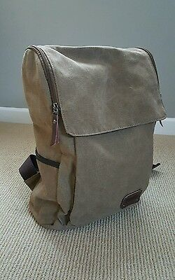 Zebella Vintage Canvas Laptop Backpack School College Rucksack Bag Khaki Leather