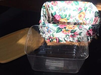 Recipe basket heirloom liner plastic 1996 with lid combo Longaberger Box Classic