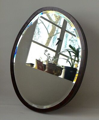 Stunning Round Antique Wall Mirror | Oval Mahogany Frame Mirror