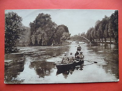 Bedfordshire: Bedford, On the River, rowing boat, suspension bridge