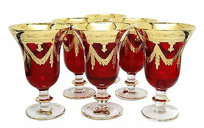 Interglass Italy Royal Red Crystal Wine Goblet Champagne Flutes 24K Gold