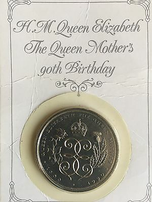 Rare £5 coin celebrating the Queen mothers 90th Birthday 1990  In Pack