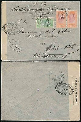 French Guinea 1916 Ww1 Scoa Envelope Military Censor Mamun Cancels Kankan Hs