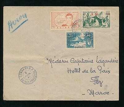 FRENCH GUINEA 1945 WW2 to MOROCCO AIRMAIL CONAKRY R.P CANCELS...AOF + MAURITANIA