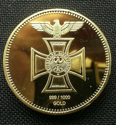 Commemorative 1oz Gold Plated Coin. . German Reichbank / Nazi Iron Cross. .. O