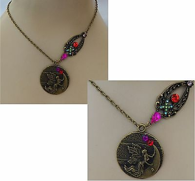Vintage Style Fairy Moon Pendant Necklace Jewelry Handmade NEW Adjustable Gold