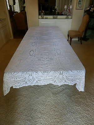 Antique White Ornate Lace Tablecloth  11 feet x 5-1/3 feet