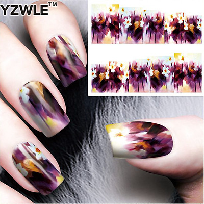 Nail Art Water Decals Stickers Transfers Purple Flowers (A-57)
