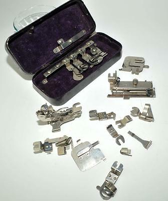 Vintage Rotary Sewing machine Attachments Metal Box 16 Piece Antique